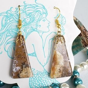 Marbled Natural Agate Stone Earrings